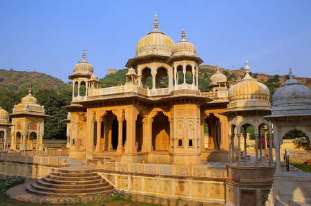 crematorium: Royal cenotaphs in Jaipur, Rajasthan, India. They were designated as the royal cremation grounds of the mighty Kachhawa dynasty. Stock Photo
