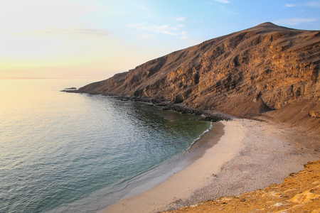 desert ecosystem: La Mina Beach during early morning in Paracas National Reserve, Peru. Main purpose of the Reserve is to protect marine ecosystem and historical cultural heritage.
