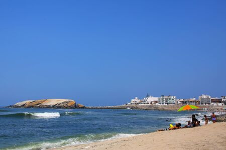 Sandy beach of Punta Hermosa in Peru. Punta Hermosa is a popular beach town not far from Lima. Stock Photo