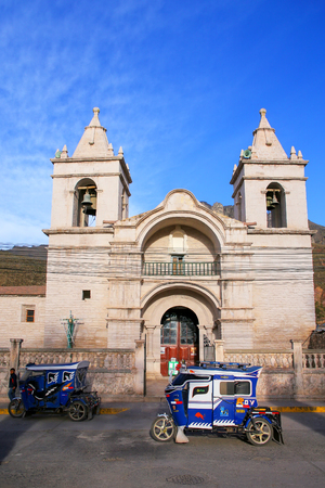 plaza de armas: Catholic church at Plaza de Armas in Chivay, Peru.  Chivay is the capital of the Caylloma province. Editorial