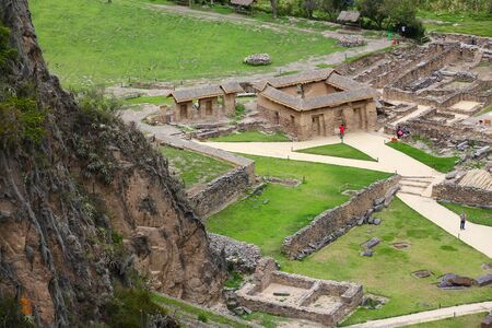 conquered: Inca Fortress in Ollantaytambo, Peru. Ollantaytambo was the royal estate of Emperor Pachacuti who conquered the region. Stock Photo