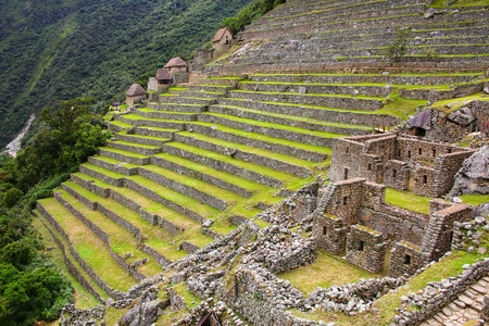 Agricultural stone terraces at  Machu Picchu in Peru. In 2007 Machu Picchu was voted one of the New Seven Wonders of the World.