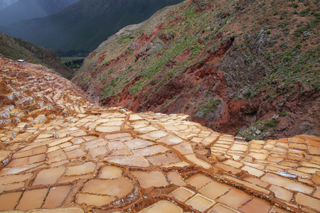 evaporation: Salinas de Maras - salt evaporation ponds near town of Maras in Peru. These salt pans are in use since Inca times.