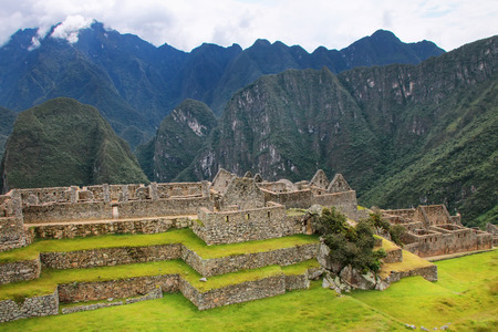 voted: Inca citadel Machu Picchu in Peru. In 2007 Machu Picchu was voted one of the New Seven Wonders of the World. Stock Photo