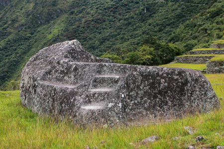 funerary: Funerary Stone at Inca citadel Machu Picchu in Peru. In 2007 Machu Picchu was voted one of the New Seven Wonders of the World.