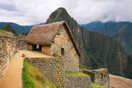 Stone building at Machu Picchu citadel in Peru. In 2007 Machu Picchu was voted one of the New Seven Wonders of the World.