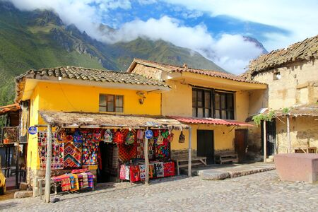 typical: Street market in Ollantaytambo, Peru. Ollantaytambo was the royal estate of Emperor Pachacuti who conquered the region. Editorial