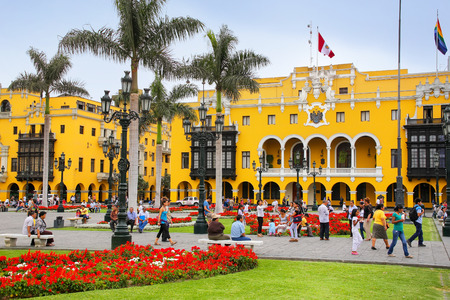 Plaza Mayor in Historic Center of Lima, Peru. It is surrounded by the Government Palace, Cathedral, Archbishops Palace, Municipal Palace, and Palace of the Union.
