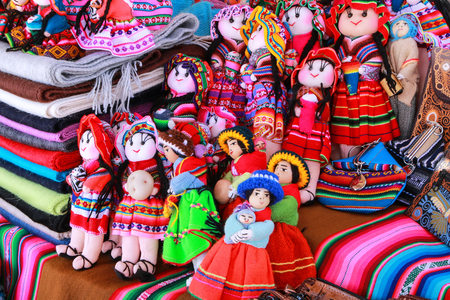 maca: Display of traditional souvenirs at the market in Maca village, Colca Canyon, Peru. Maca is one of the three main tourist towns of the Colca Canyon.