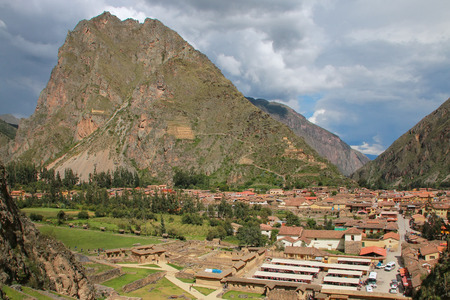 conquered: Ollantaytambo town in Peru. Ollantaytambo was the royal estate of Emperor Pachacuti who conquered the region.