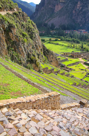 conquered: Terraces of Pumatallis at the Inca Fortress in Ollantaytambo, Peru. Ollantaytambo was the royal estate of Emperor Pachacuti who conquered the region.