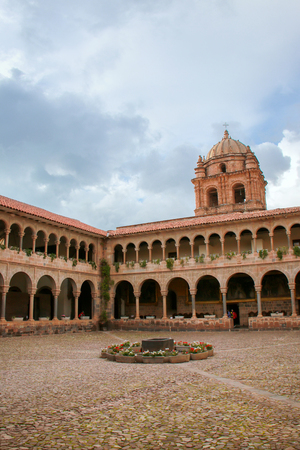 Courtyard of Convent of Santo Domingo in Koricancha complex, Cusco, Peru. Koricancha was the most important temple in the Inca Empire, dedicated to the Sun God