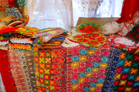 spaniards: Display of nanduti at the street market in Asuncion, Paraguay. Nanduti is a traditional Paraguayan embroidered lace, introduced by the Spaniards