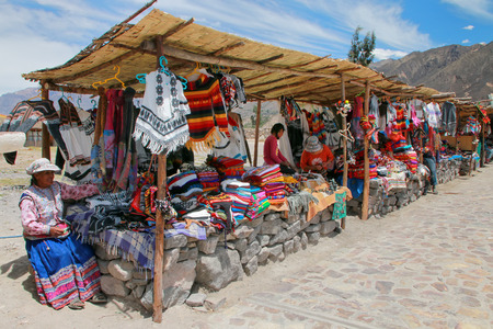 maca: Souvenir market in Maca village in Colca Canyon, Peru. Maca is one of the three main tourist towns of the Colca Canyon.