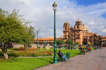 iglesia de la compania: Iglesia de la Compania de Jesus on Plaza de Armas in Cusco, Peru. In 1983 Cusco was declared a World Heritage Site by UNESCO