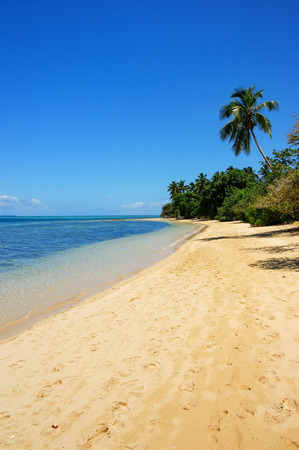 Sandy beach at Pangaimotu island near Tongatapu island in Tonga. Kindom of Tonga is an archipelago comprised of 169 islands Stock Photo