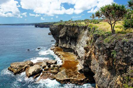 Cliffs on the southern shore of Tongatapu island in Tonga. Tongatapu is the main island of the Kingdom of Tonga.