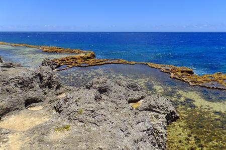 blowhole: Coastline on the southern part of Tongatapu island in Tonga. Tongatapu is the main island of the Kingdom of Tonga.