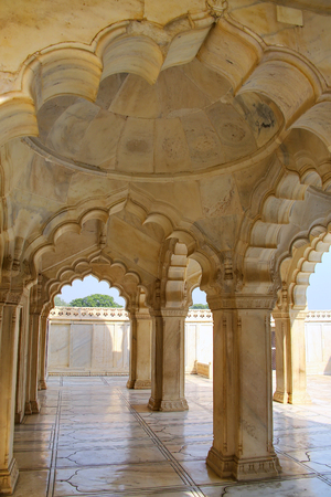 Interior of Nagina Masjid (Gem Mosque) in Agra Fort, Uttar Pradesh, India. It was build in 1635 by Shah Jahan for the ladies of his harem and made entirely of marble Editorial