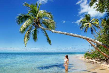 Young woman in bikini standing under palm tree at Makahaa island near Tongatapu island in Tonga. Kindom of Tonga is an archipelago comprised of 169 islands