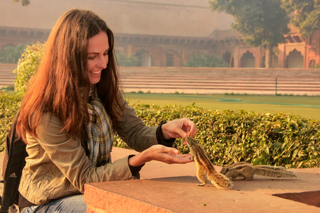 tourist site: Young woman feeding Indian palm squirrels at Agra Fort, Uttar Pradesh, India. This fort is a very popular tourist site in Agra