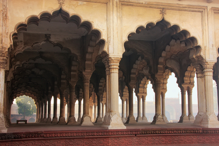 uttar pradesh: Diwan-i-Am - Hall of Public Audience in Agra Fort, Uttar Pradesh, India. The fort was built primarily as a military structure, but was later upgraded to a palace. Editorial