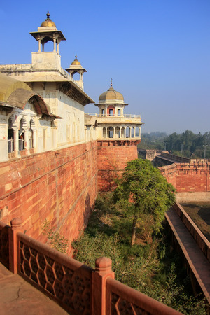 View of Musamman Burj in Agra Fort, Uttar Pradesh, India. The fort was built primarily as a military structure, but was later upgraded to a palace. Editorial
