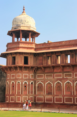 uttar pradesh: Jahangiri Mahal in Agra Fort, Uttar Pradesh, India. The fort was built primarily as a military structure, but was later upgraded to a palace.