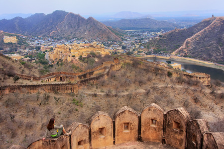Defensive walls of Jaigarh Fort on Aravalli Hills near Jaipur, Rajasthan, India. The fort was built by Jai Singh II in 1726 to protect the Amber Fort