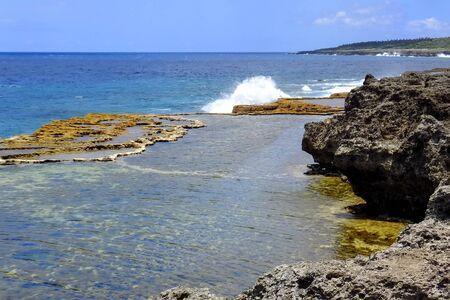 Coastline on the southern part of Tongatapu island in Tonga. Tongatapu is the main island of the Kingdom of Tonga.