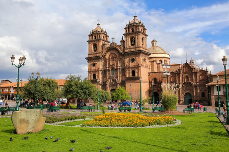Iglesia de la Compania de Jesus on Plaza de Armas in Cusco, Peru.