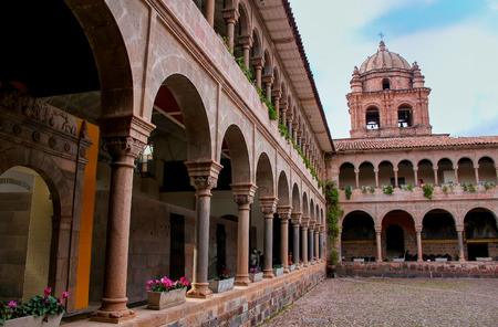 convento: Courtyard of Convent of Santo Domingo in Koricancha complex, Cusco, Peru. Koricancha was the most important temple in the Inca Empire, dedicated to the Sun God