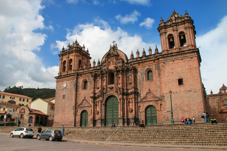 Cathedral Basilica of the Assumption of the Virgin on Plaza de Armas in Cusco, Peru. Building was completed in 1654 almost a 100 years after construction began.