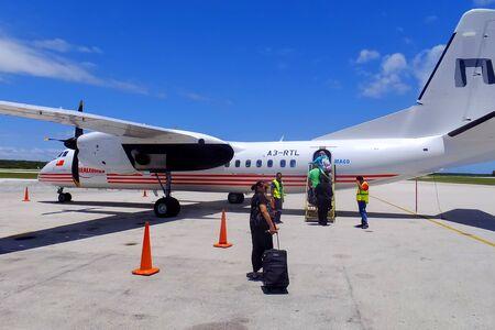 RealTonga airplane at Fuaamotu International Airport on Tongatapu island in Tonga. RealTonga airline operates domestic flights within Tonga