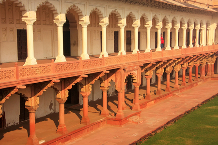 primarily: Colonnade walkway leading to Diwan-i- Khas (Hall of Private Audience) in Agra Fort, Uttar Pradesh, India. The fort was built primarily as a military structure, but was later upgraded to a palace.