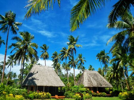architecture bungalow: Traditional houses with thatched roof on Vanua Levu Island, Fiji. Vanua Levu is the second largest island of Fiji.