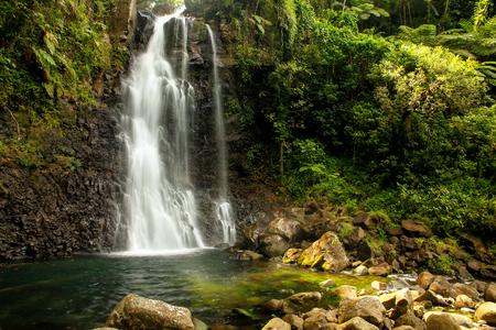 Mittel Tavoro Wasserfälle in Bouma National Heritage Park auf Taveuni Island. Taveuni ist die drittgrößte Insel in Fidschi. Standard-Bild - 66968106