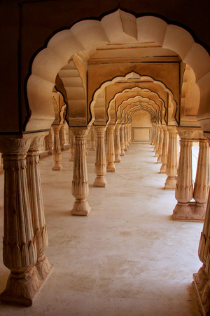 arcades: Sattais Katcheri Hall in Amber Fort near Jaipur, Rajasthan, India. Amber Fort is the main tourist attraction in the Jaipur area.