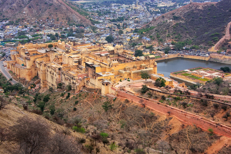 View of Amber Fort from Jaigarh Fort in Rajasthan, India.  Amber Fort is the main tourist attraction in the Jaipur area. Editorial