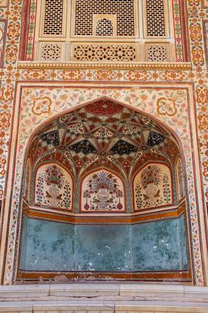Part of Ganesh Pol at Amber Fort near Jaipur, Rajasthan, India. Ganesh Pol was a gateway to the maharaja's appartments. Sajtókép
