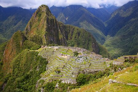 Inca citadel Machu Picchu in Peru. In 2007 Machu Picchu was voted one of the New Seven Wonders of the World. Stock Photo
