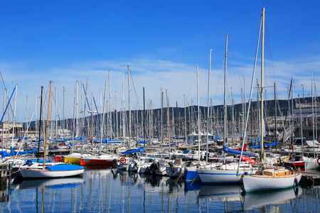 seafronts: Boat marina in Trieste, Italy. Trieste is the capital of the autonomous region Friuli-Venezia Giulia