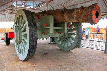 Jaya Vana on display in Jaigarh Fort near Jaipur, Rajasthan, India. Jaya Vana is the worlds largest wheeled cannon.
