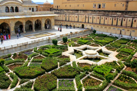 Charbagh garden in the third courtyard of Amber Fort, Rajasthan, India. Amber Fort is the main tourist attraction in the Jaipur area.
