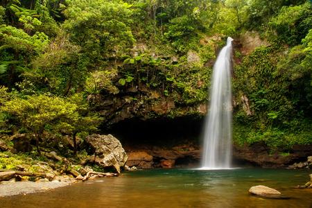 Lower Tavoro Waterfalls in Bouma National Heritage Park on Taveuni Island, Fiji. Taveuni is the third-largest island in Fiji.