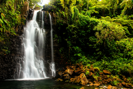 Middle Tavoro Waterfalls in Bouma National Heritage Park on Taveuni Island, Fiji. Taveuni is the third largest island in Fiji.