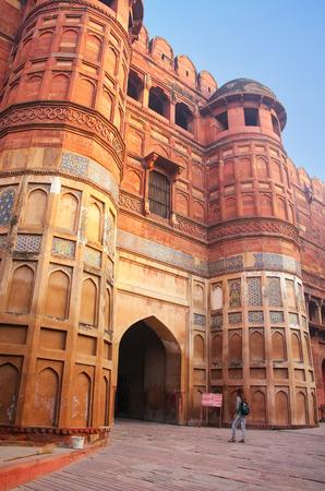 uttar pradesh: Amar Singh Gate in Agra Fort, Uttar Pradesh, India. The gate was originally known as Akbar Darwaza and was reserved for Mughal emperor Akbar and his personal entourage