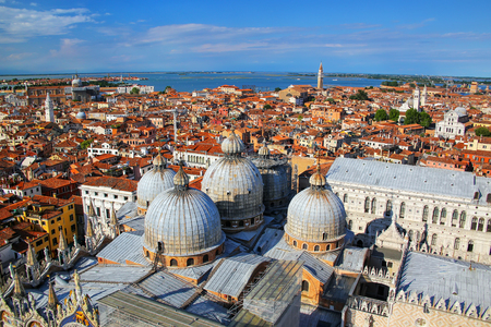 View of the domes of St Marks Basilica in Venice, Italy. It is the most famous of the  churches in Venice and one of the best known examples of Italo-Byzantine architecture. Stock Photo