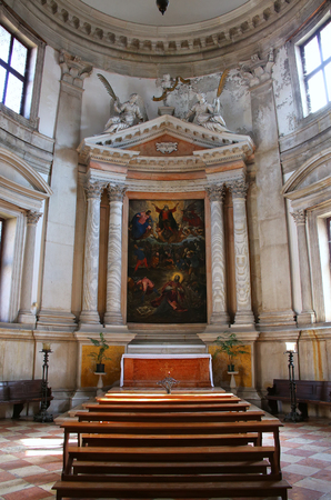Interior of San Giorgio Maggiore church on the island of the same name in Venice, Italy. It was designed by Andrea Palladio and built between 1566 and 1610.
