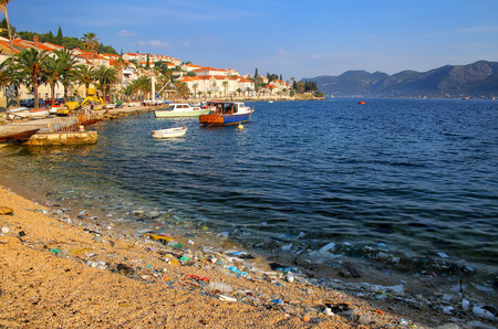 Beach polluted with plastic garbage due to sea currents, Korcula island, Croatia. Editöryel